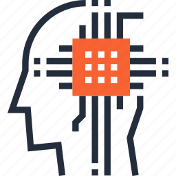 artificial, brain, computer, cyborg, intelligence, processor, robot icon