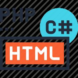 code, coding, html, language, php, program, programming icon