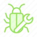 bug, fix, insect, setting, virus icon