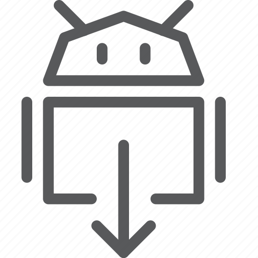android, arrow, coding, down, download, pointer, programming, robot, save icon