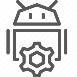 android, coding, cog, custom, customize, machine, robot, settings icon