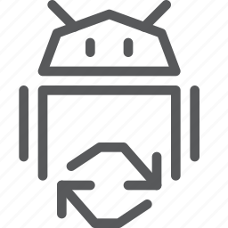 android, arrows, coding, programming, refresh, reload, robot, sync icon