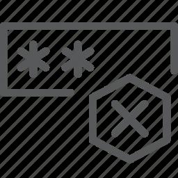 blocked, box, coding, deny, login, programming, remove, wrong icon