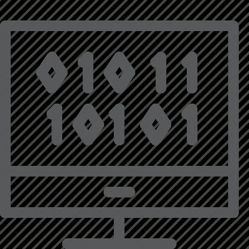 binary, coding, extension, imac, monitor, programming icon
