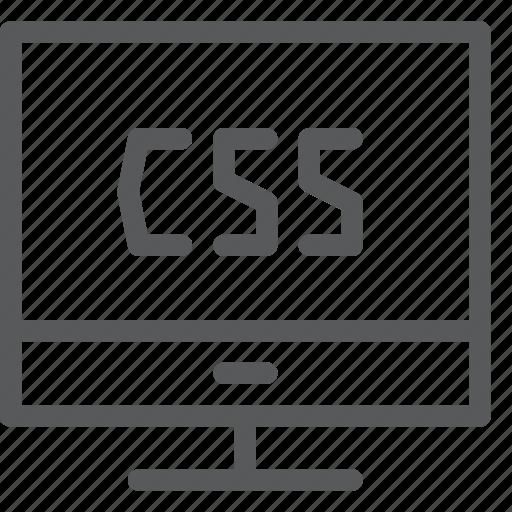 coding, css, extension, imac, language, monitor, programming icon