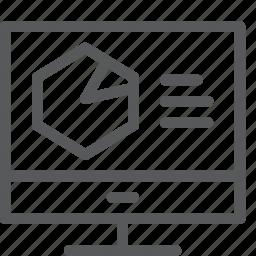 analytics, coding, computer, graph, imac, monitor, pie, programming icon