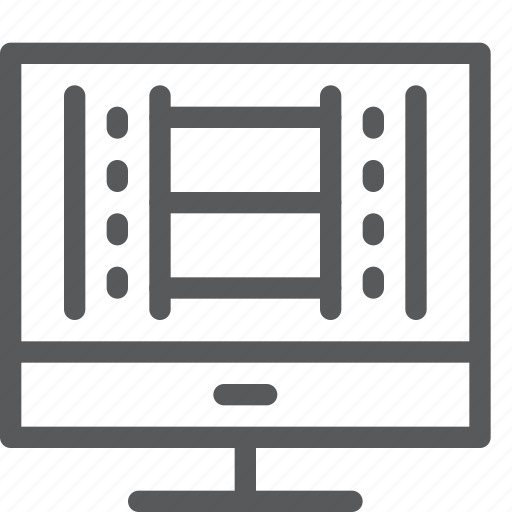 computer, desktop, editing, imac, media, monitor, play, video icon