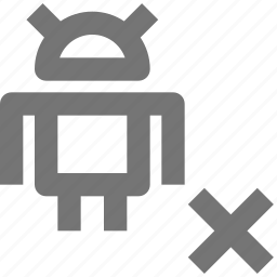 android, close, code, language, programming, remove, robot, stop icon