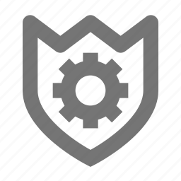 configuration, gear, options, protect, safe, settings, shield icon