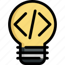 bulb, code, creative, creativity, idea, light, programming icon