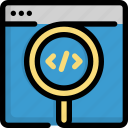 code, coding, find, glass, magnifier, programming, search icon