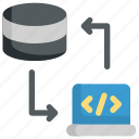 code, coding, database, programming, server, storage, transfer icon