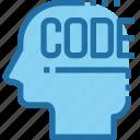 code, coding, develop, development, head, mind, process
