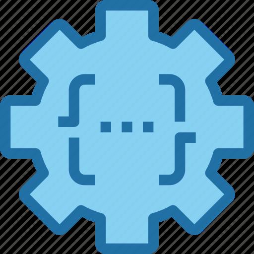 code, coding, develop, development, gear, process icon