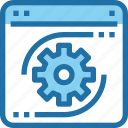 browser, develop, development, gear, process icon