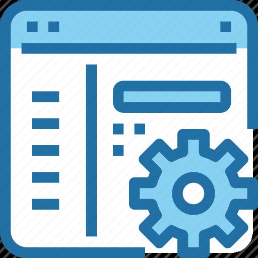 browser, develop, development, gear, process, website icon