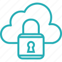 cloud, computing, database, lock, secure, security, server icon