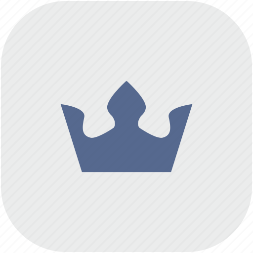 crown, gray, king, rounded, royal, square icon