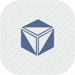 box, cube, figure, gray, model, rounded, square icon