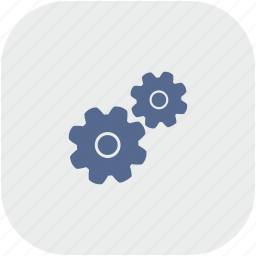 engine, gears, gray, mechanism, rounded, settings, square icon