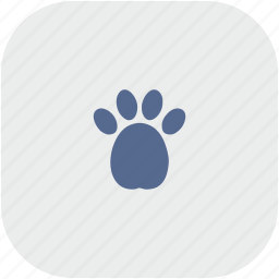 dog, footstep, gray, puppy, rounded, square icon