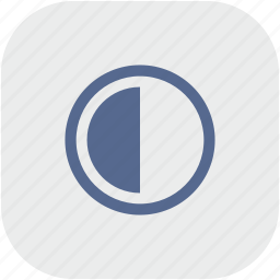 chart, contrast, gray, half, part, rounded, square icon