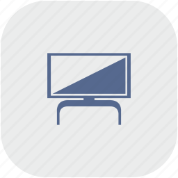 gray, modern, plazma, rounded, set, square, tv icon