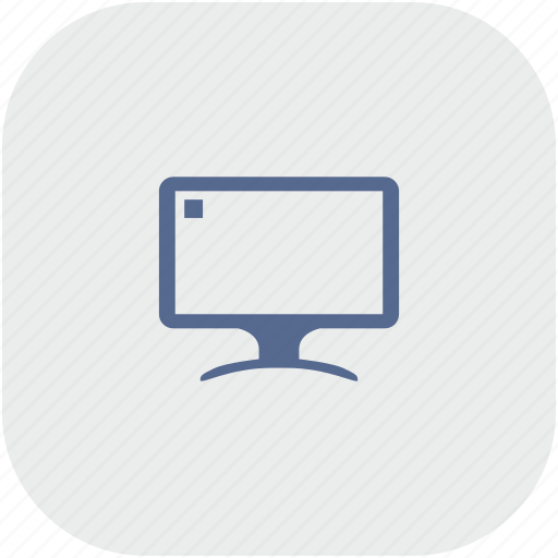 display, gray, monitor, rounded, screen, square icon