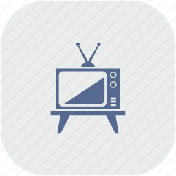 antenna, gray, old, rounded, set, square, tv icon