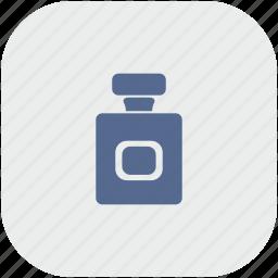 aroma, bottle, gray, parfume, rounded, square icon