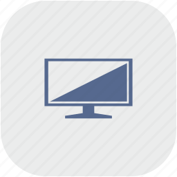 gray, plazma, rounded, screen, set, square, tv icon