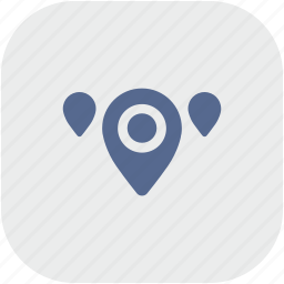 geo, gray, map, pointer, region, rounded, square icon