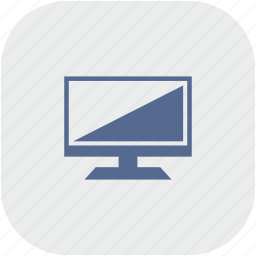 display, gray, rounded, screen, set, square, tv icon