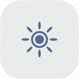 brightness, contrast, flash, gray, rounded, square, sun icon