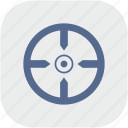 aim, gray, rounded, shoot, square, target icon
