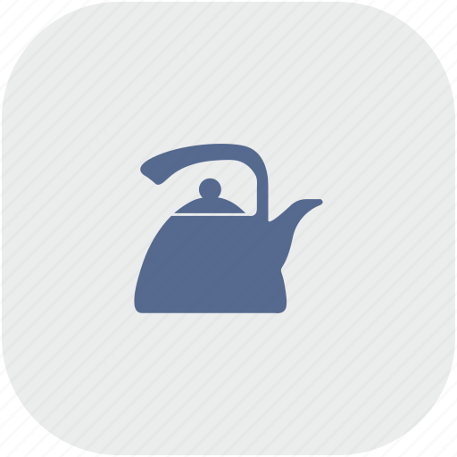 dishes, gray, kitchen, pot, rounded, square, tea icon