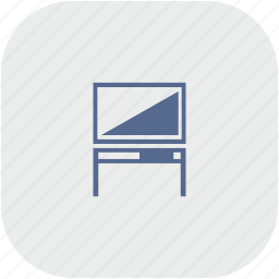 gray, monitor, plazma, rounded, set, square, table, tv icon