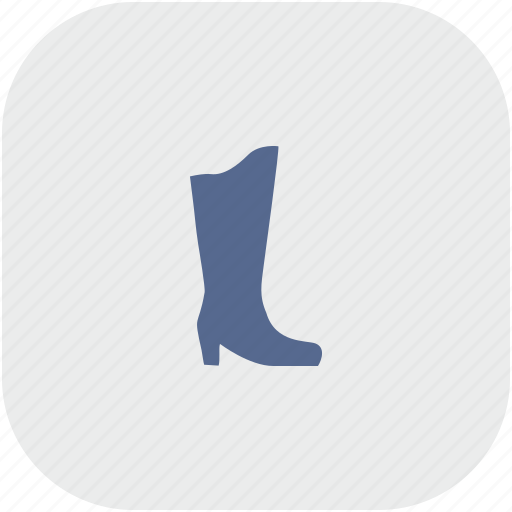 boots, gray, lady, rounded, shoe, square, woman icon