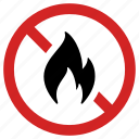 ban burning, flame, flammable, forbidden, inflammable, no fire, prohibited icon