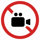 block, camera prohibited, movie banned, no filming, not allowed, stop, video forbidden icon