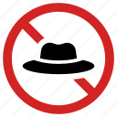 ban headwear, banned, cap prohibition, forbidden, hat, prohibited, stop sign