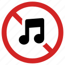 forbidden, no music, prohibited, prohibition, song banned, stop sign icon
