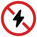 banned, blocked, forbidden, no energy, power off, prohibited, stop sign