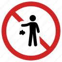 forbidden, litter, no throwing waste, not allowed, prohibited, trash icon