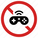 ban, games, no gaming, prohibited, videogame forbidden icon