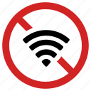 disconnect, no wifi, internet prohibited, connection off, forbidden