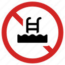 ban swimming pool, forbidden, no swim, pool not allowed, prohibited, swimming icon