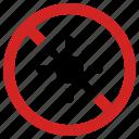 ban heat, blocked, exposure forbidden, no light, prohibited, sun, sunlight prohibition icon
