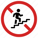 blocked access, forbidden, prohibited, prohibition, staircase, stairs, stairway banned icon