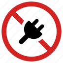 ban, no charging, plug forbidden, prohibited, prohibition, restricted, stop icon